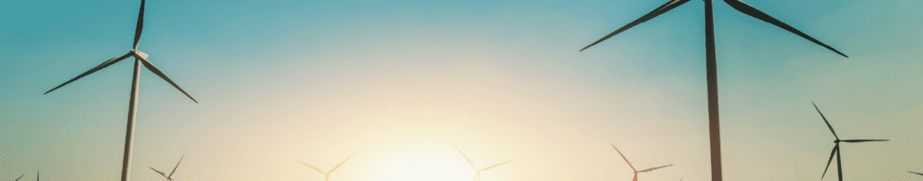 Photograph of wind turbines with sunrise on the horizon